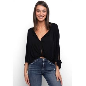 FREE PEOPLE •NWT Black Button Front Tie Sleeve Top
